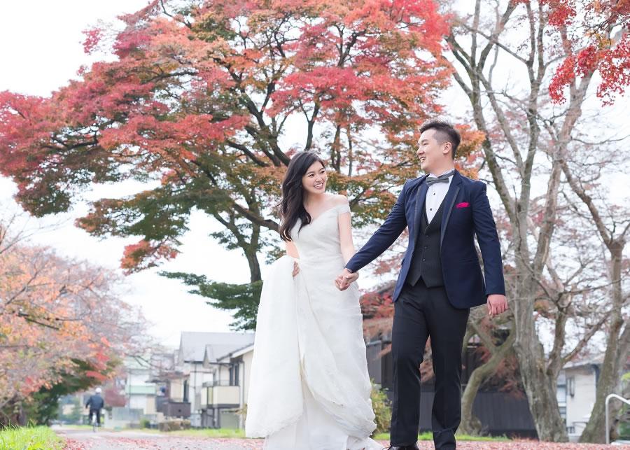 Pre-wedding, 京都, 銀杏, 楓葉婚紗, 海外婚紗, 自助婚紗, 自主婚紗, 手工婚紗, 自助婚紗工作室, 婚紗攝影工作室, 愛儷莎和蕾絲